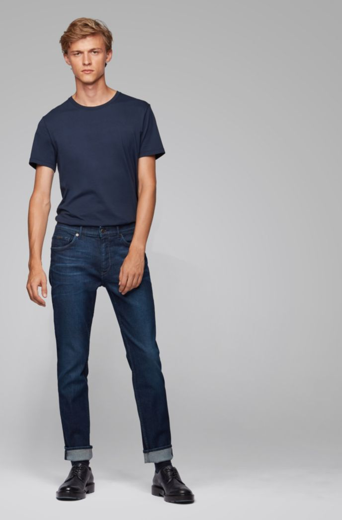Tapered-fit jeans in dark-blue Italian stretch denim