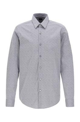 Regular-fit shirt in floral-jacquard cotton, Black