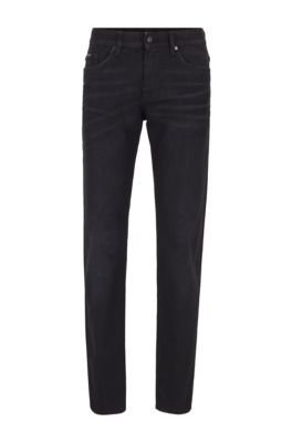 Slim-fit jeans in black Italian stretch denim, Black