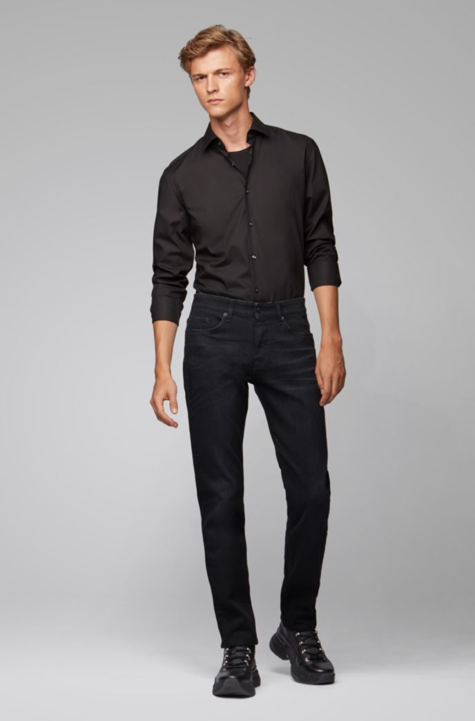 Slim-fit jeans in black Italian stretch denim