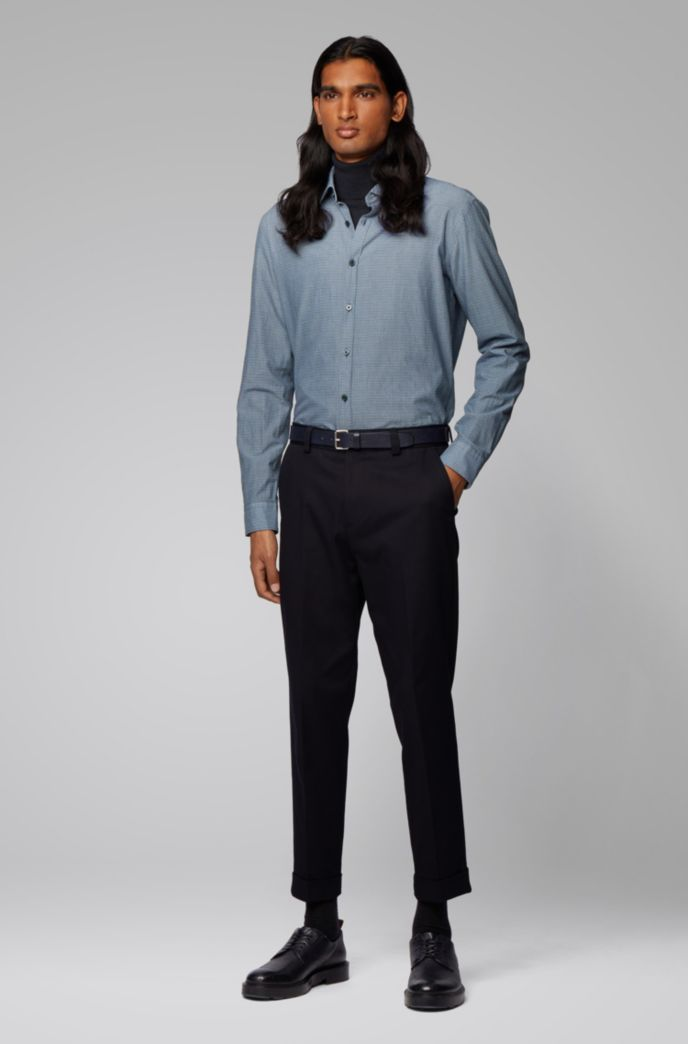 Slim-fit shirt in cotton with exclusive print