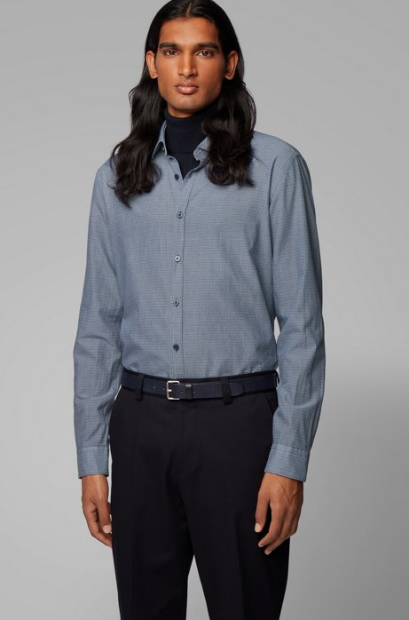 Slim-fit shirt in cotton with exclusive print, Dark Blue