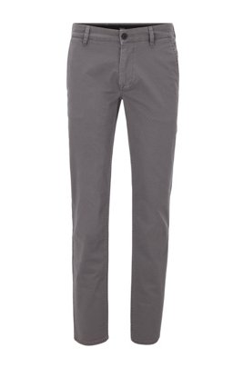 Slim-fit chinos in micro-patterned stretch-cotton twill, Grey