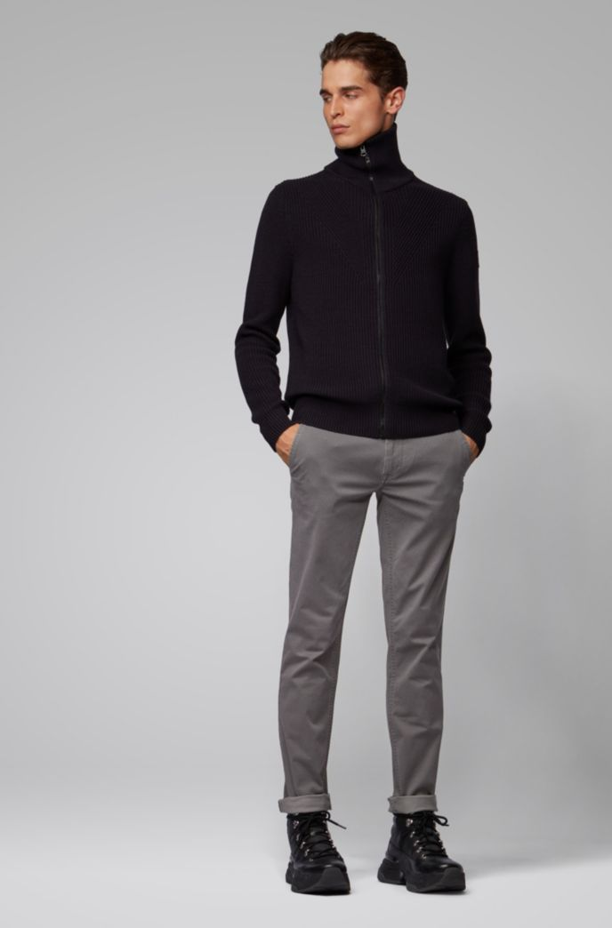 Slim-fit chinos in micro-patterned stretch-cotton twill