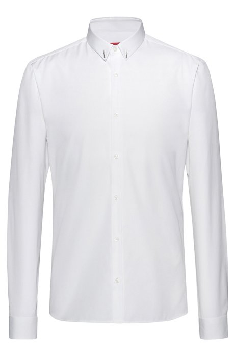 Extra-slim-fit shirt with Berlin-inspired collar detail, Open White