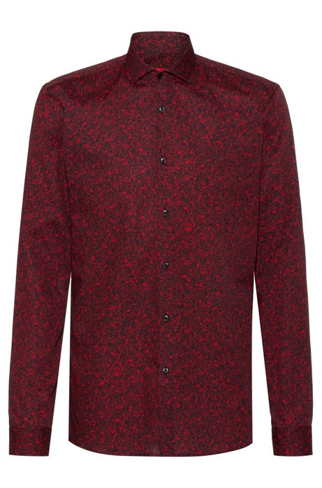 Extra-slim-fit shirt with floral print, Open Pink