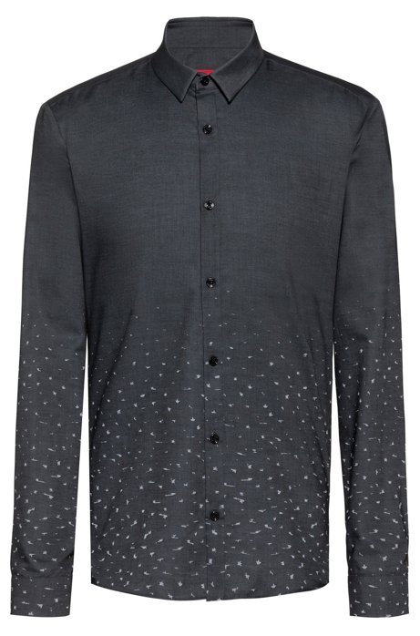 Extra-slim-fit cotton shirt with degradé stardust motif, Silver
