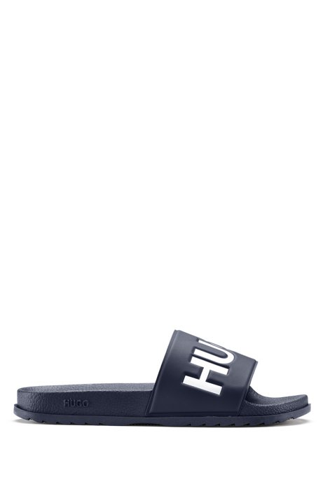 Italian-made slides with contrast logo, Dark Blue