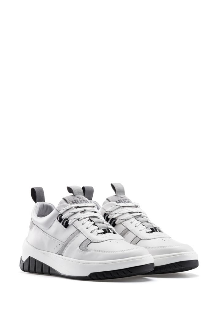 Tennis-inspired trainers in nappa leather and suede