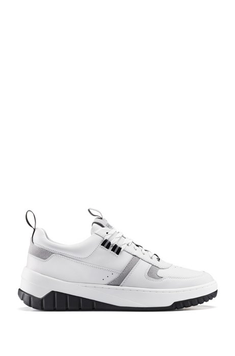 Tennis-inspired trainers in nappa leather and suede, White