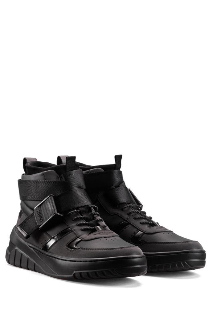 Hybrid high-top trainers with sock liner