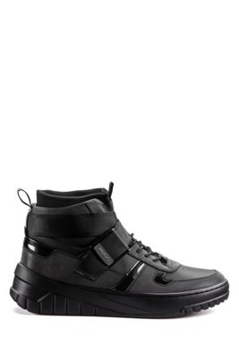 Hybrid high-top trainers with sock liner, Black