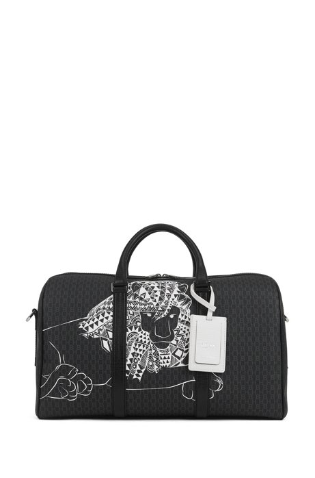 Monogram-print holdall in Italian fabric with collection artwork, Black