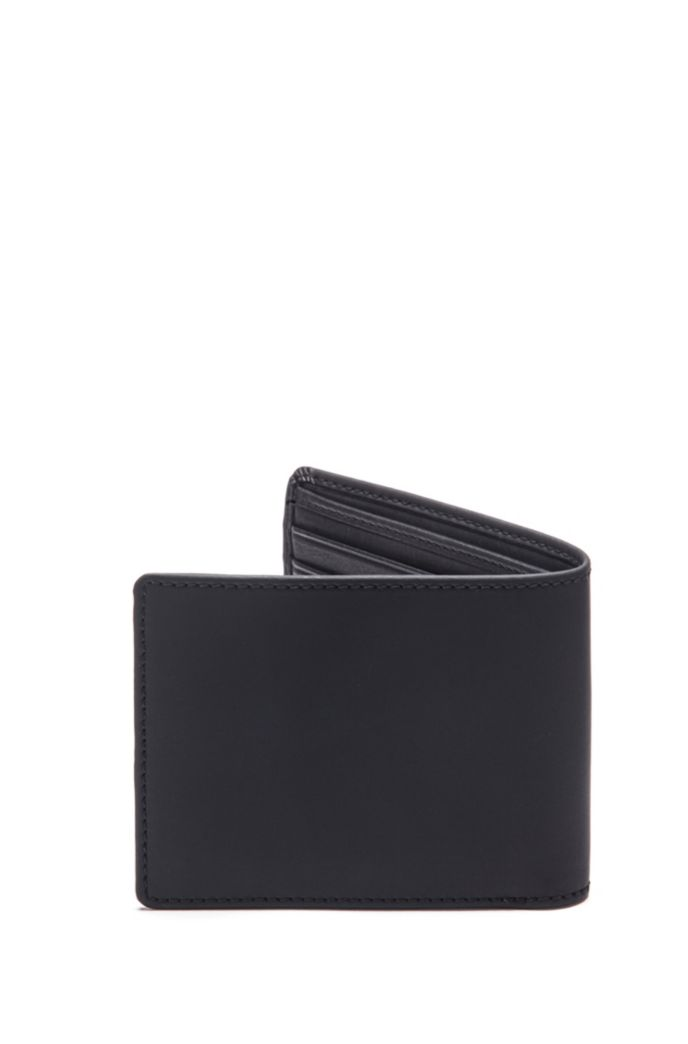 Billfold wallet in matte leather with graduated logo