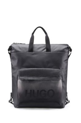Logo-print backpack in rubberised canvas, Black
