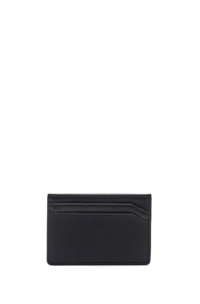 Matte-leather card holder with graduated logo
