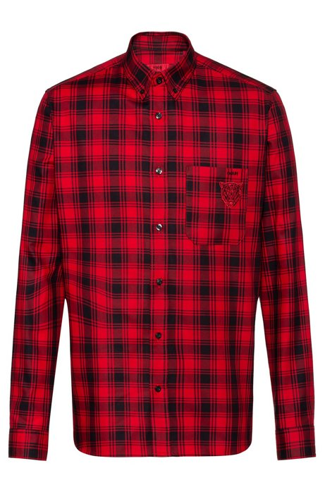 Relaxed-fit shirt in checked cotton with bear motif, Open Pink
