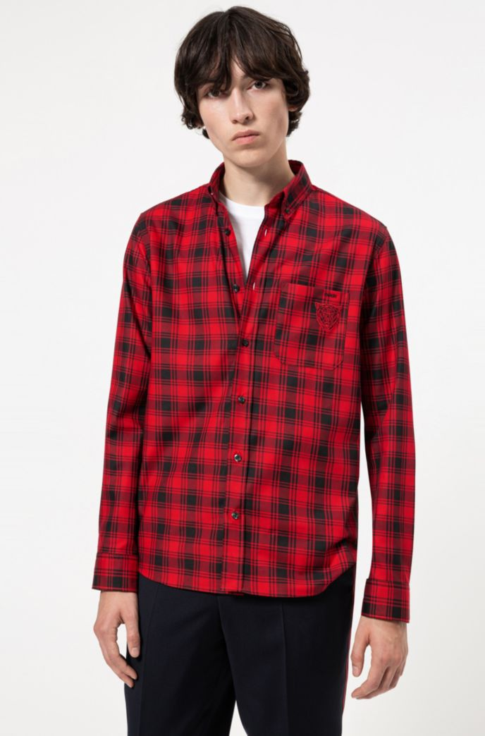 Relaxed-fit shirt in checked cotton with bear motif