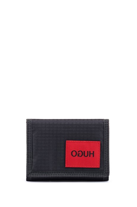 Ripstop-fabric billfold with reversed-logo patch, Black