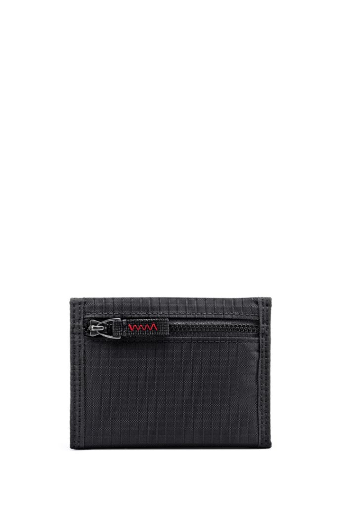 Ripstop-fabric billfold with reversed-logo patch