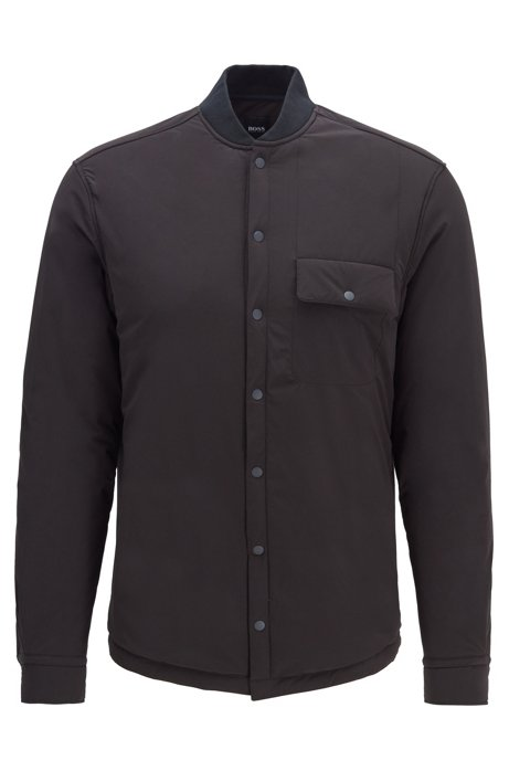 Relaxed-fit overshirt in padded stretch fabric, Black