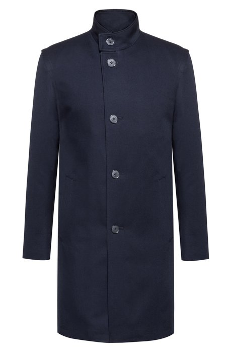 Extra-slim-fit coat in water-repellent cotton, Dark Blue