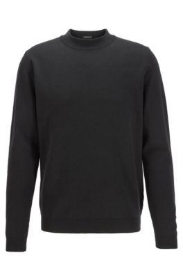 Knitted sweater in Italian virgin wool with mock neckline, Black