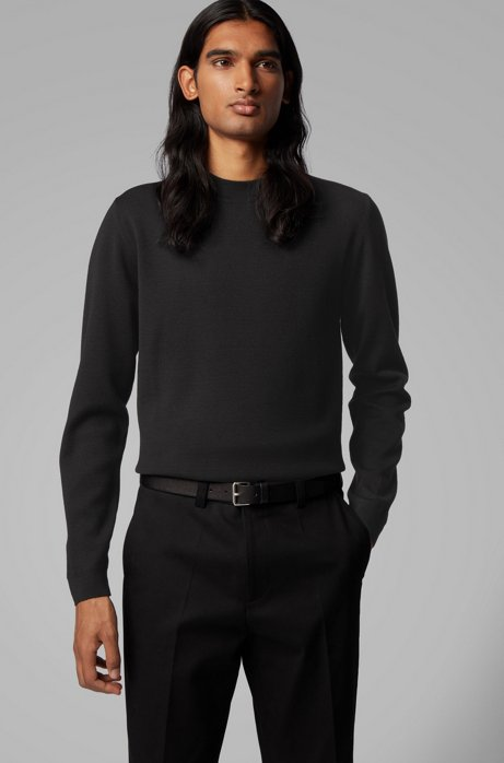 Knitted sweater in Italian virgin wool with mock neckline, Black