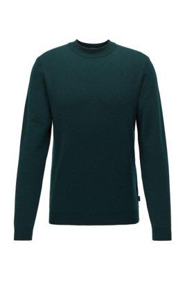 Knitted sweater in Italian virgin wool with mock neckline, Light Green