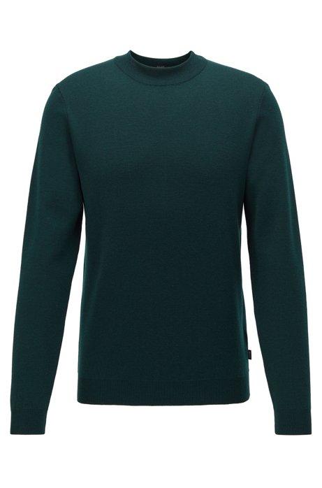 Knitted sweater in Italian virgin wool with mock neckline, Open Green