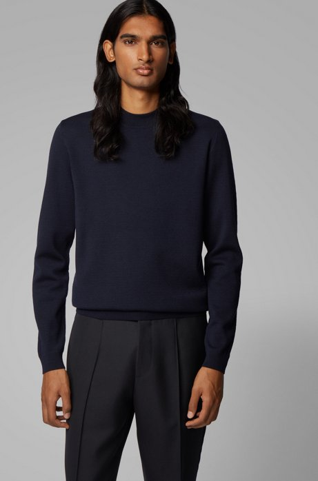 Knitted sweater in Italian virgin wool with mock neckline, Dark Blue