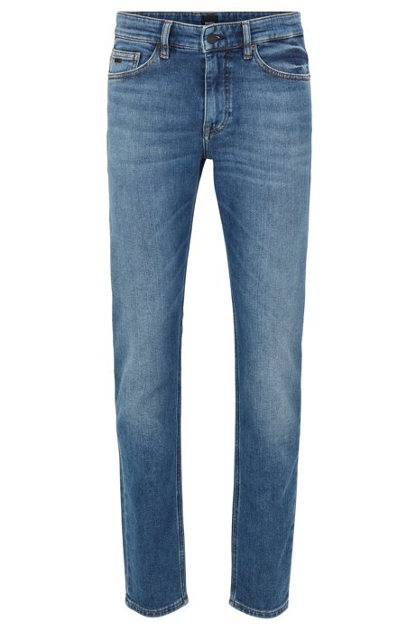 Slim-fit jeans in mid-blue knitted denim, Blue