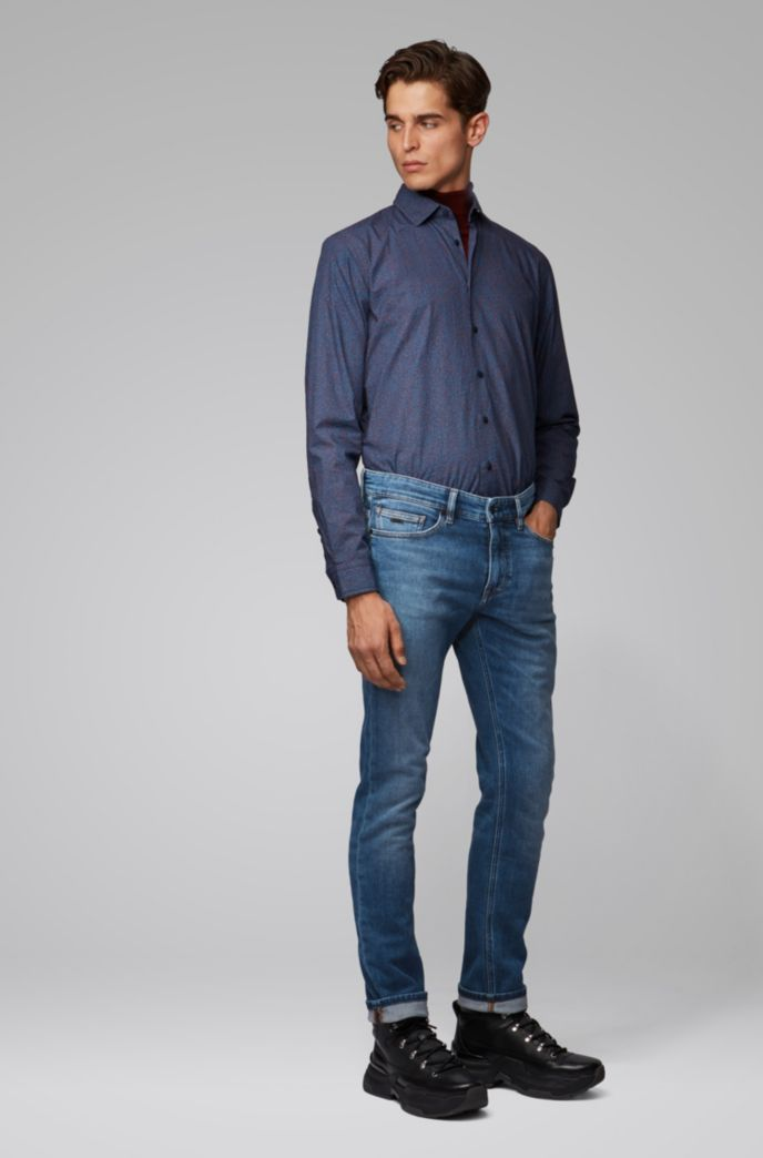 Slim-fit jeans in mid-blue knitted denim