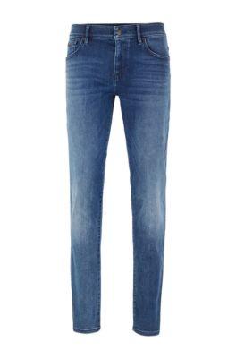 Skinny-fit jeans in washed super-stretch denim, Blue