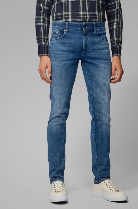 Skinny-fit jeans in washed super-stretch denim, Blue
