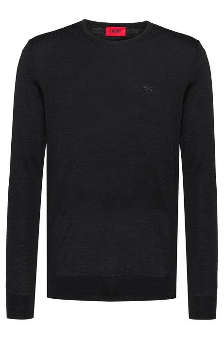 Slim-fit sweater in a merino-wool blend, Black