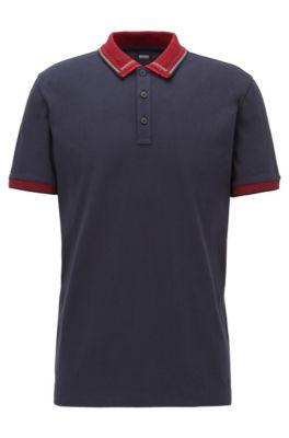 Cotton-jersey polo shirt with checked jacquard collar, Dark Blue
