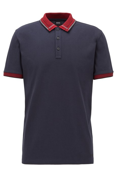Cotton-jersey polo shirt with checked jacquard collar, Dark Blue