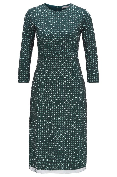 Stretch-jersey dress with dot print and embroidered overlay, Patterned