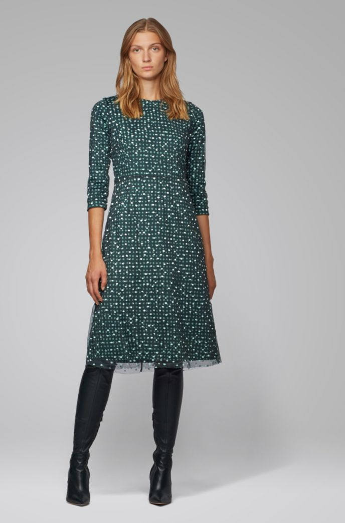 Stretch-jersey dress with dot print and embroidered overlay