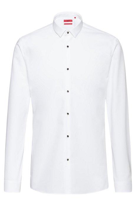 Extra-slim-fit evening shirt in cotton poplin, Open White