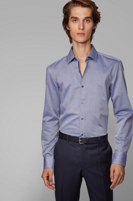 Slim-fit shirt in structured dobby cotton, Dark Blue