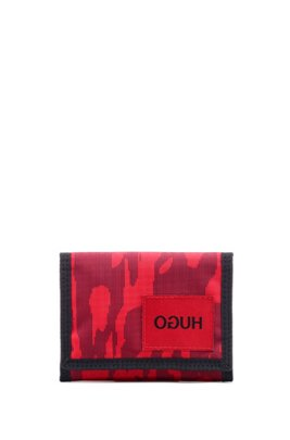 Camouflage-print billfold in ripstop fabric, Dark Red