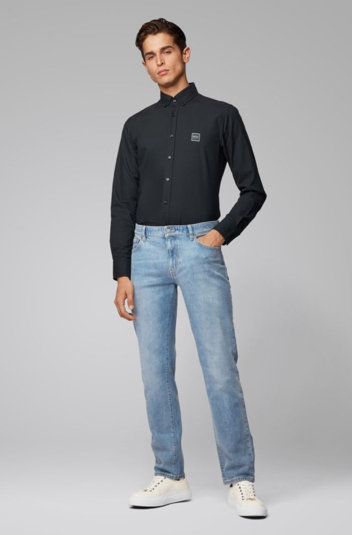 Regular-fit jeans in bright-blue stonewashed denim