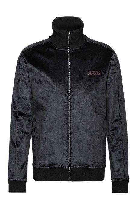 Regular-fit jacket in cotton-blend velvet, Black