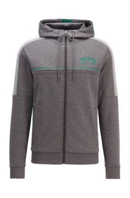 Regular-fit sweatshirt with curved logo and adjustable hood, Grey
