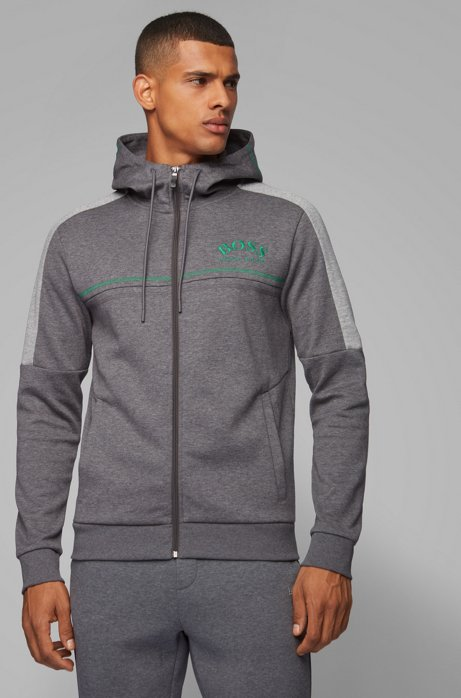 Regular-fit sweatshirt with curved logo and adjustable hood, Grey