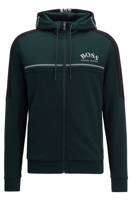 Regular-fit sweatshirt with curved logo and adjustable hood, Open Green