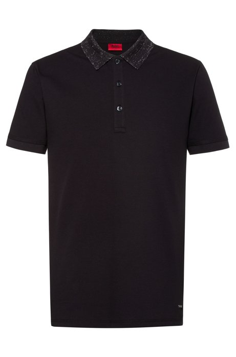 Slim-fit polo shirt with sparkly collar, Black
