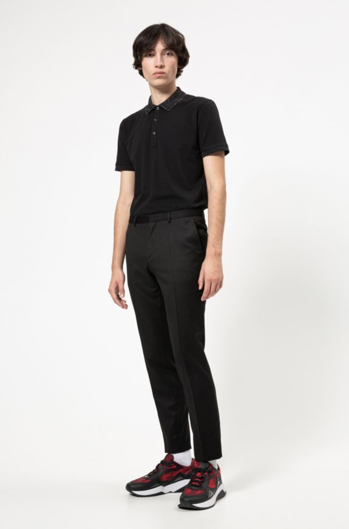 Slim-fit polo shirt with sparkly collar